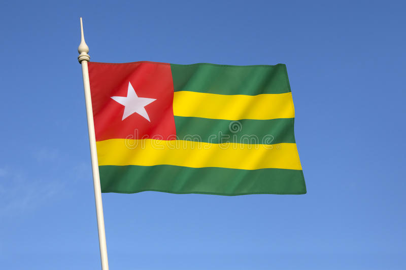 Flag of Togo. It uses the popular pan-African colors and was adopted on 27th April 1960 stock photos