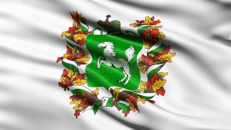 Flag of Tomsk Oblast waving in the wind. 3D illustration stock photo