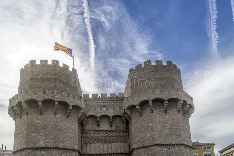 Flag on top of the Torres de Serrans, Valencia, Spain royalty free stock images