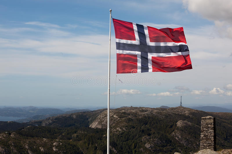 Flag on top of Ulriken stock images