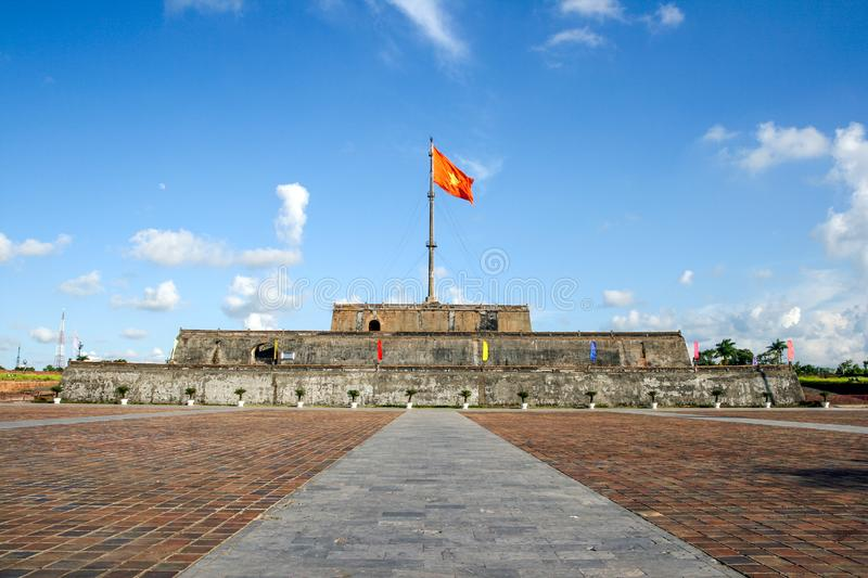 Flag Tower in Hue Citadel. Hue, Vietnam. Flag Tower building in Hue Citadel. Hue, Vietnam vietnamese architecture history fort tourism landmark fortress asia stock photo