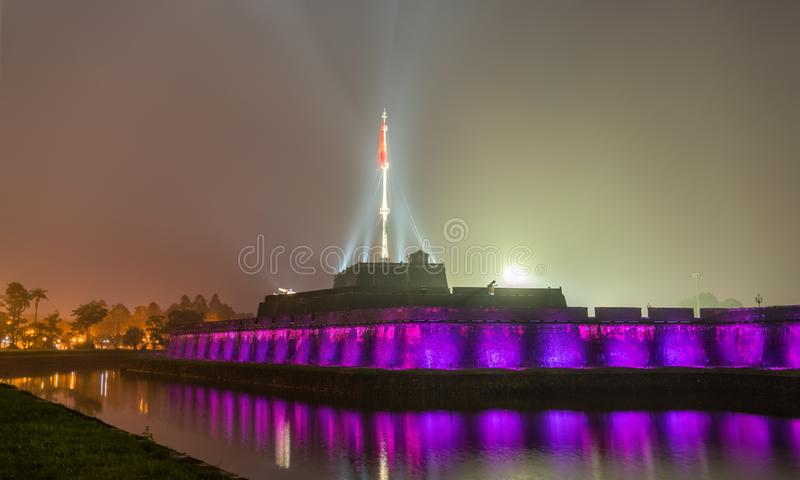 Flag tower at the Imperial City in Hue, Vietnam. Flag tower at the Imperial City in Hue. UNESCO world heritage in Vietnam stock photos