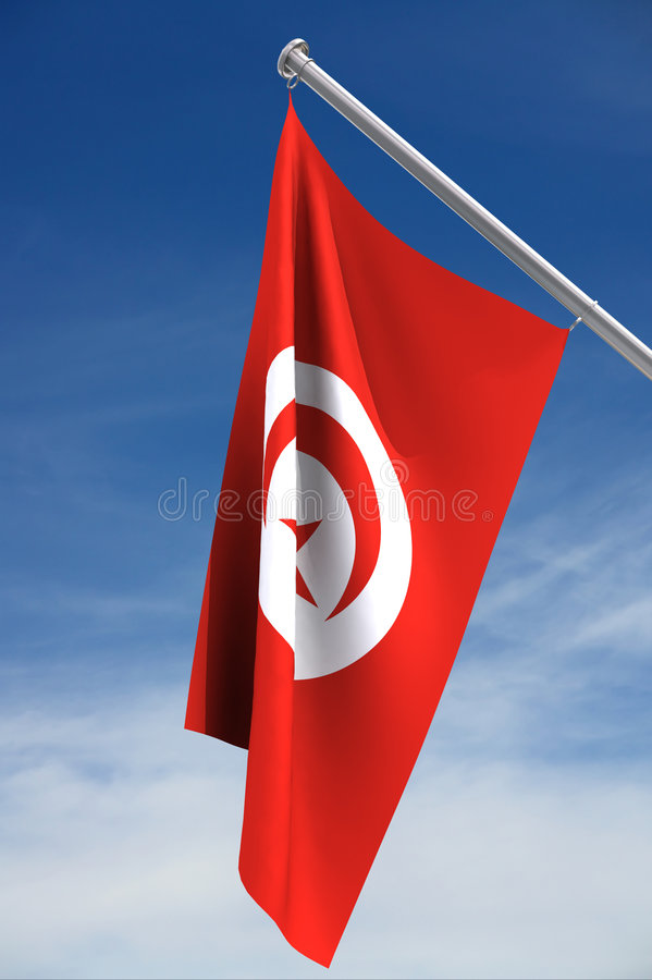 Flag of Tunisia. Hanging from flag pole; with clipping path available stock image