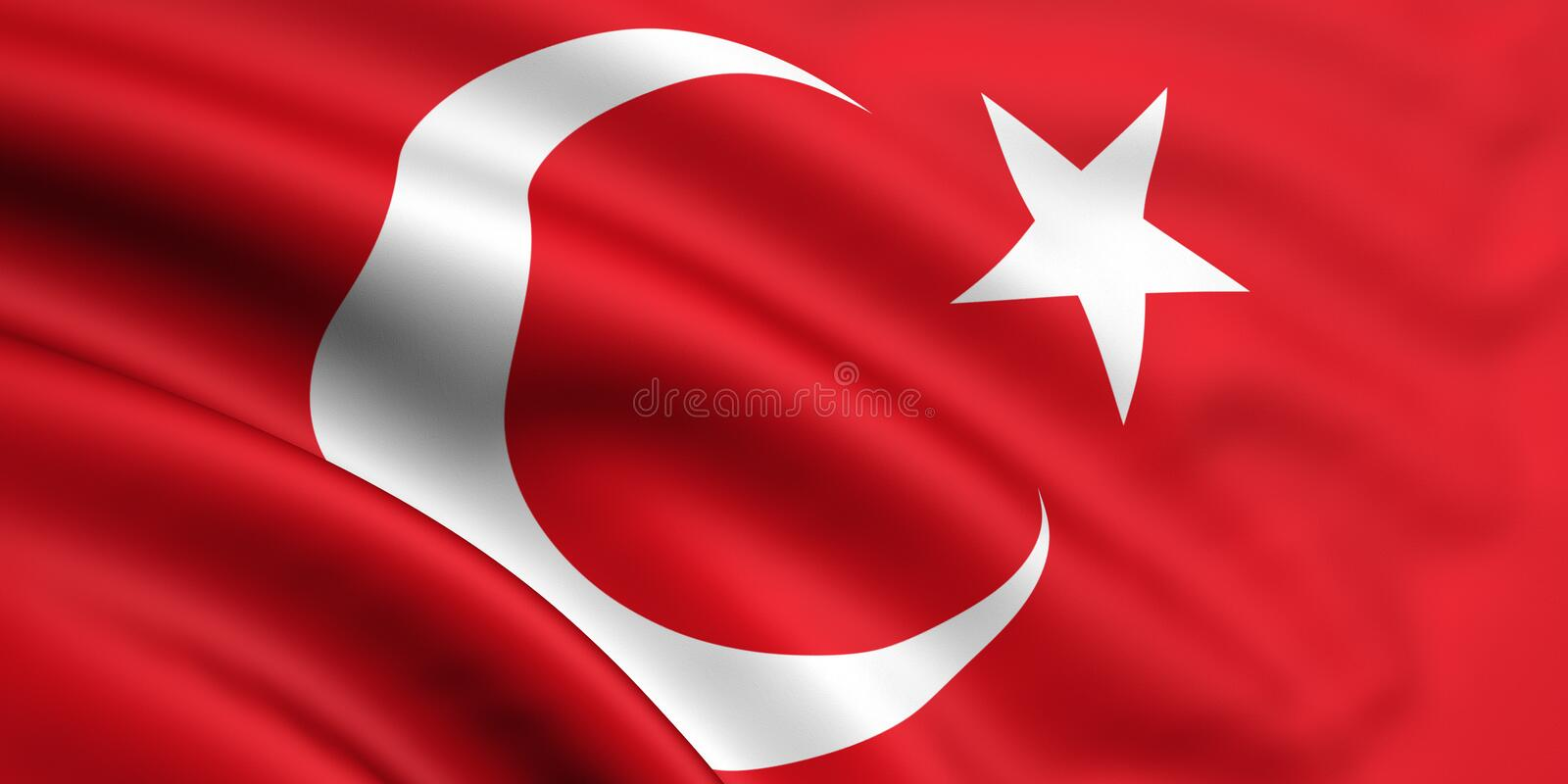 Flag Of Turkey. 3d rendered and waving flag of turkey