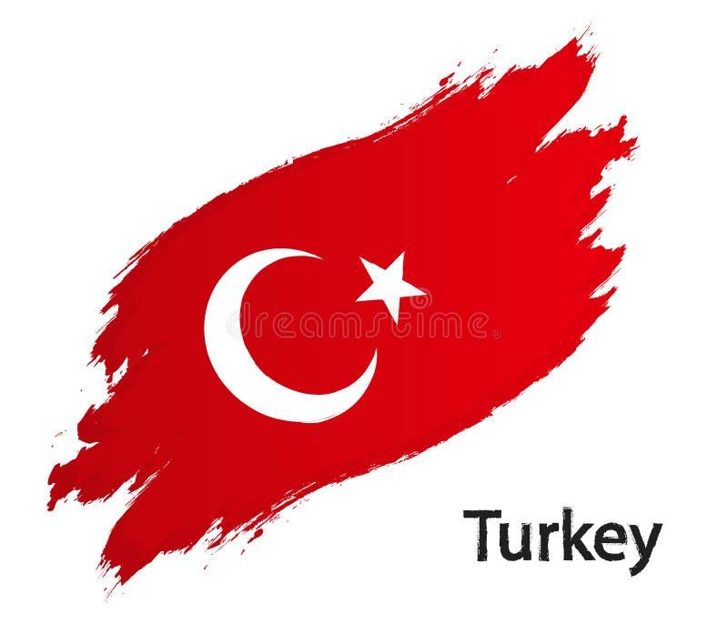 Flag of Turkey grunge style vector illustration isolated on white vector illustration