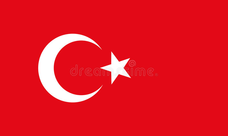 Flag of Turkey. The national flat flag of Turkey. red color with star and half moon, 2d background vector illustration
