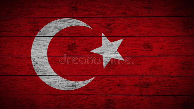 Flag of Turkey Painted on old wood boards. wooden Turkey flag. Abstract flag background. grunge Turkish flag stock illustration