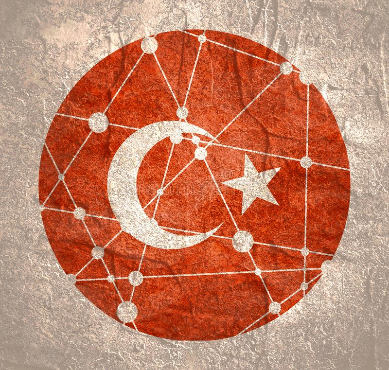 Turkey flag concept. Flag of the Turkey. Round shape. Molecule and communication background. Connected lines with dots royalty free stock photos