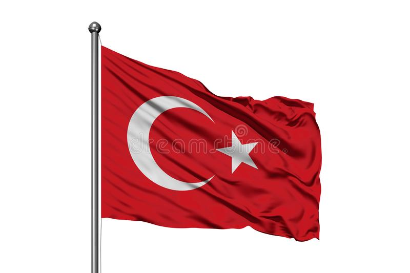 Flag of Turkey waving in the wind, isolated white background. Turkish flag royalty free stock photos