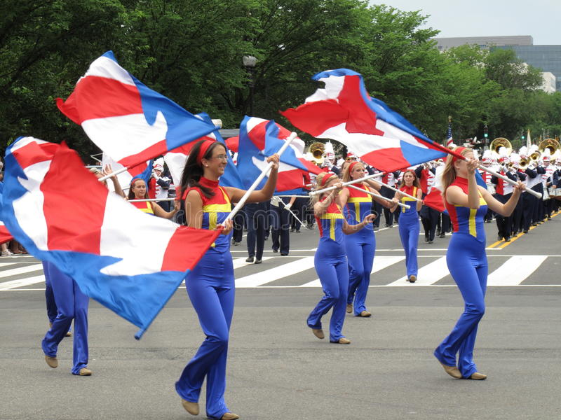 Flag Twirlers at the Parade royalty free stock photos