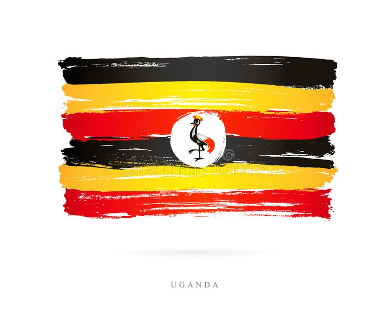 Flag of Uganda. Abstract concept. Flag of Uganda. Vector illustration on white background. Beautiful brush strokes. Abstract concept. Elements for design stock illustration