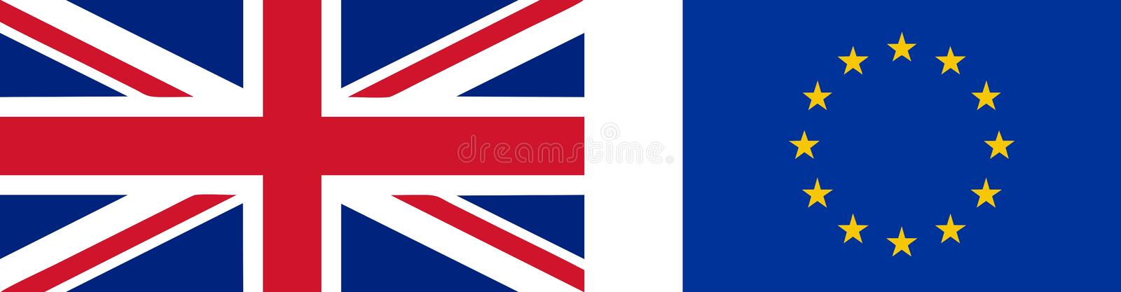 Flag of the UK and EU stock illustration