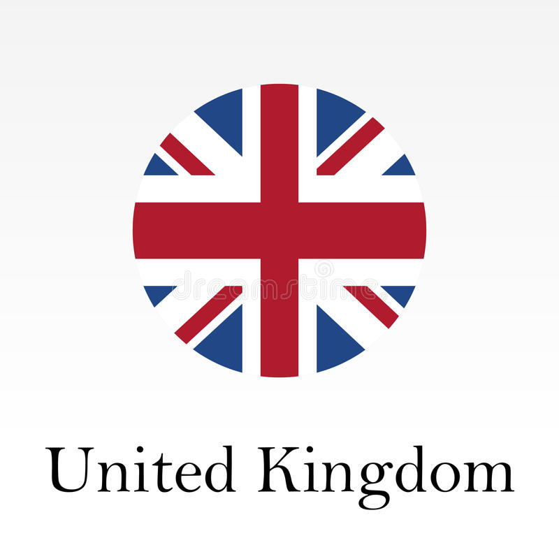 Flag of UK round icon or badge. United Kingdom and Great Britain circle button. vector illustration