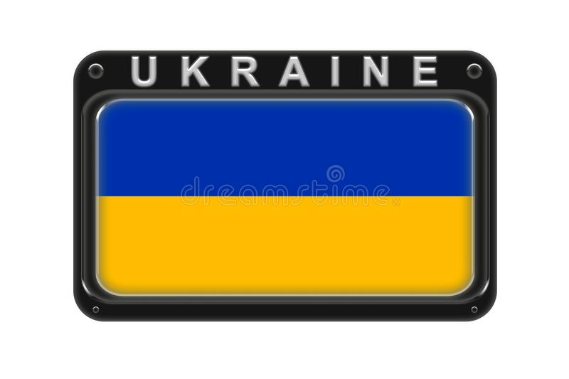 The flag of Ukraine in the frame with rivets on white background royalty free illustration