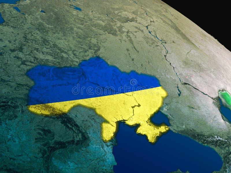 Download Flag of Ukraine from space stock illustration. Illustration of flag - 83720384