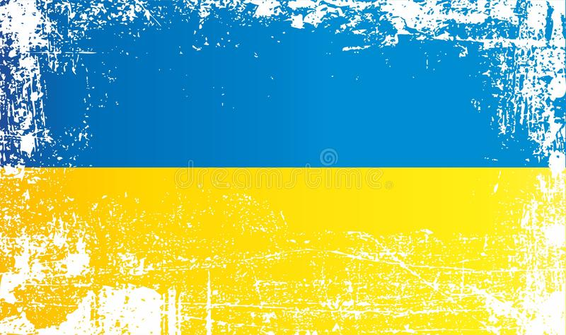 Flag of Ukraine. Wrinkled dirty spots. Can be used for design, stickers, souvenirs royalty free illustration