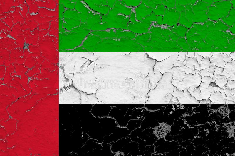 Flag of United Arab Emirates painted on cracked dirty wall. National pattern on vintage style surface stock illustration