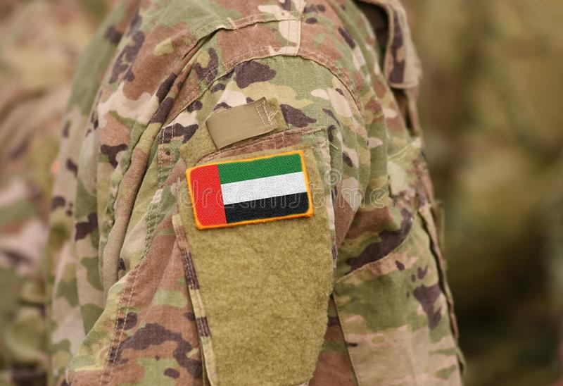 Flag of United Arab Emirates UAE on soldiers arm collage.  stock images
