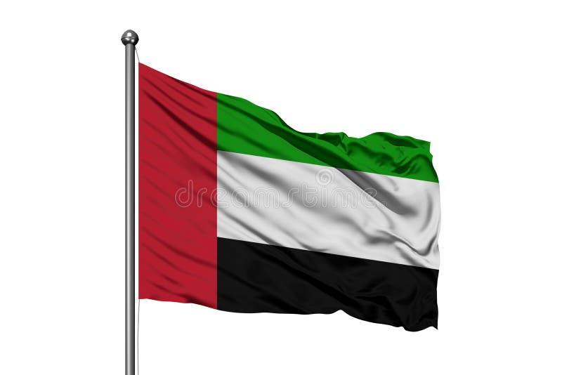 Flag of United Arab Emirates waving in the wind, isolated white background. UAE flag.  royalty free stock photography