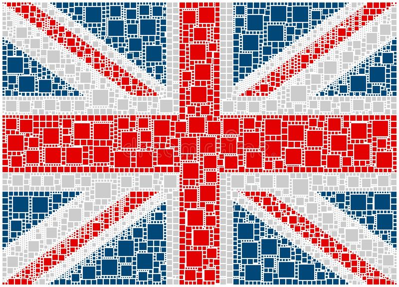 Flag of United Kingdom. The figure is composed by a mesh of squares colored. The map is divided into a set of individually-shaped squares that closely follow vector illustration