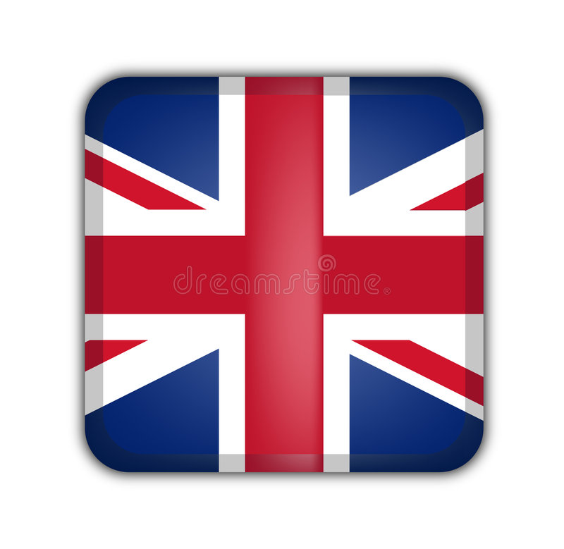 Flag of united kingdom. Square button on white background vector illustration