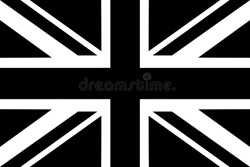 Flag of United Kingdom with black and white colors. Vector graphic vector illustration