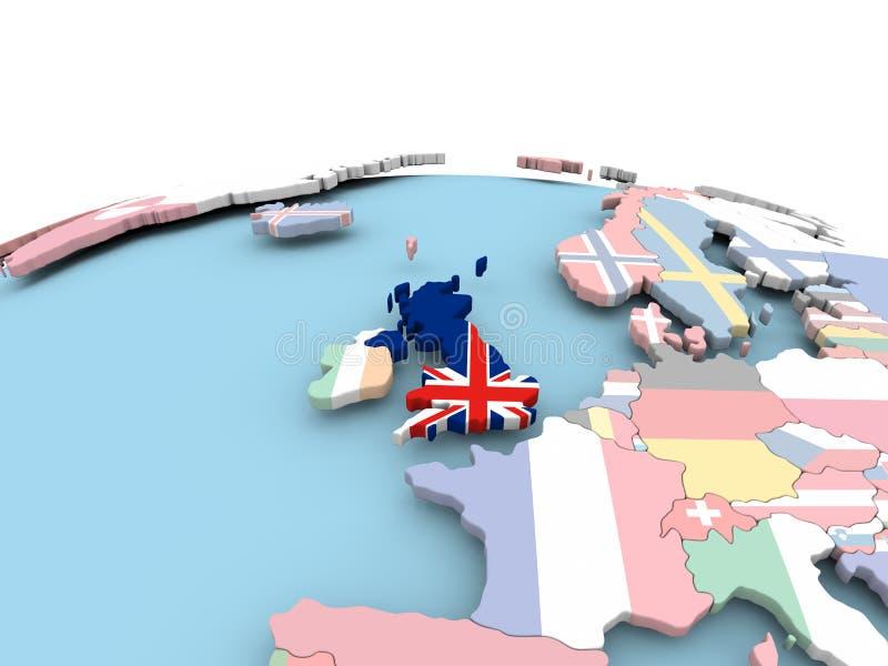 Flag of United Kingdom on bright globe vector illustration
