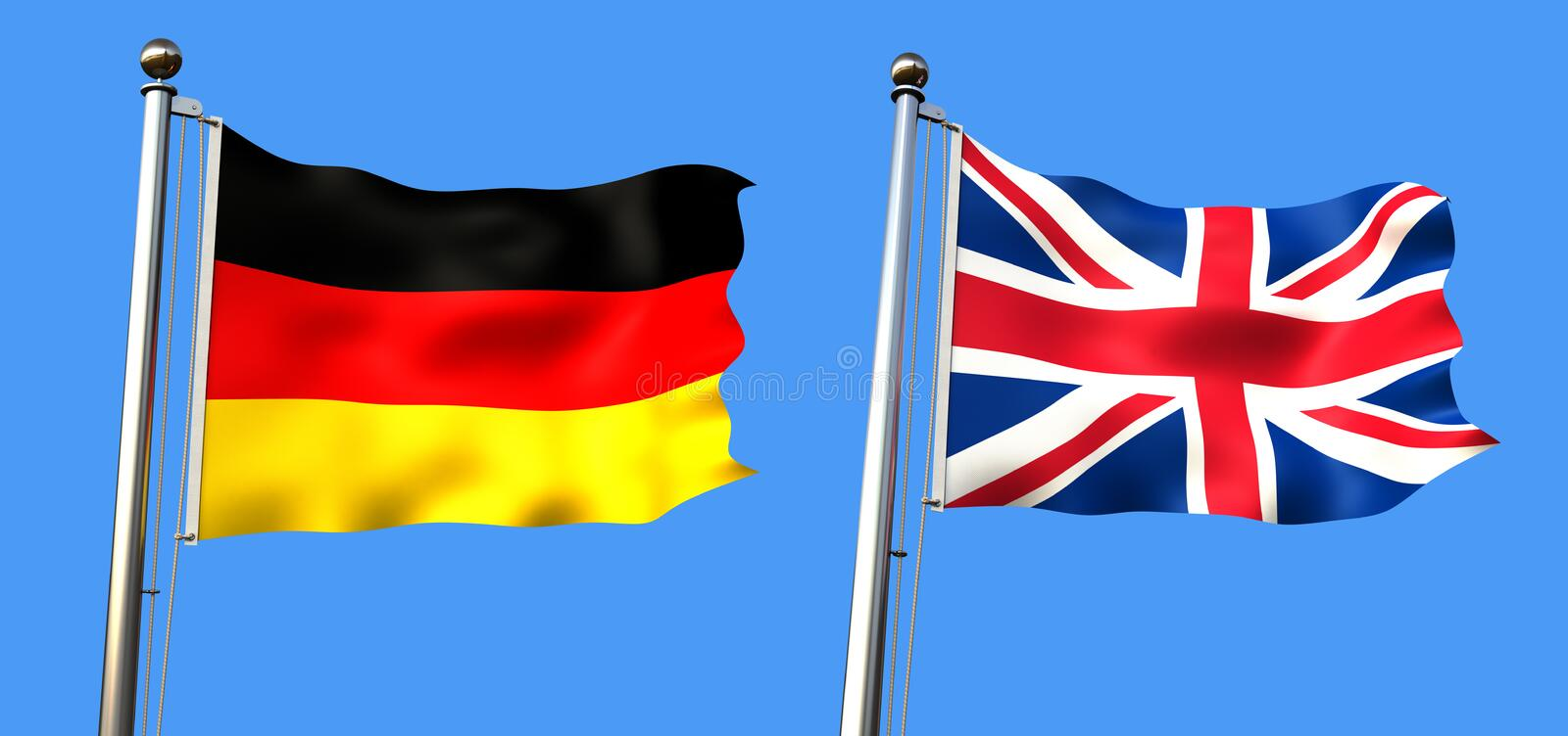 Flag of united kingdom and germany. On blue background with visible fabric texture - rendering stock illustration