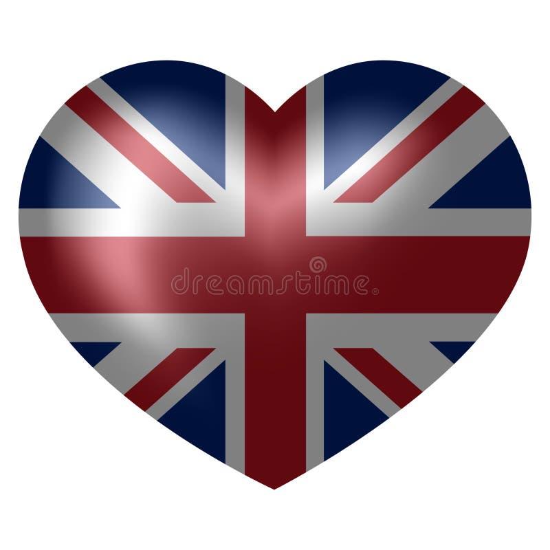 Flag of United Kingdom in heart shape. 3d vector illustration stock illustration