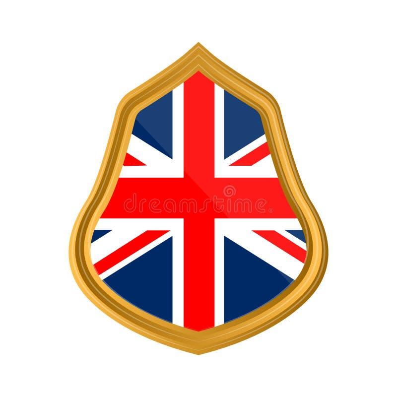Flag of United Kingdom. Isolated flag of United Kingdom on premium label. Vector illustration design stock illustration