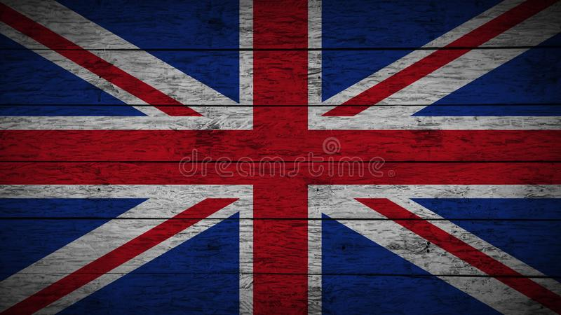 Flag of United kingdom Painted on old wood boards. wooden great britain flag. Abstract flag background. grunge England flag. royalty free illustration