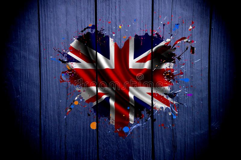 Flag of the United Kingdom in the shape of a heart on a dark background royalty free stock photo