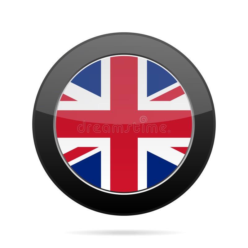 Flag - United Kingdom. Shiny black round button. stock illustration