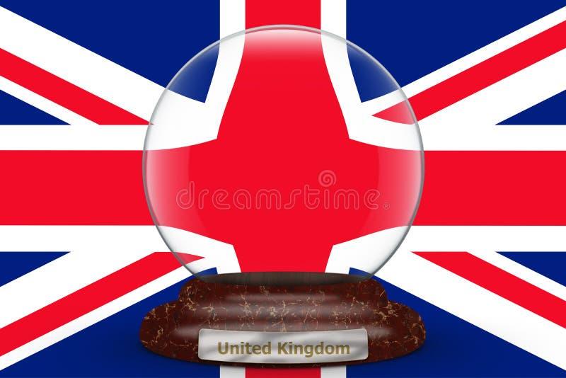 Flag of United Kingdom on snow globe royalty free illustration