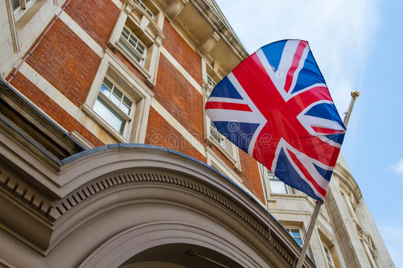 Flag of the United Kingdom. The United Kingdom flag on Street in London royalty free stock images
