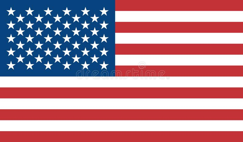 The flag of the United States of America is colored. Vector colorful flag of the US. Blue, red, white. Object isolated background. stock illustration