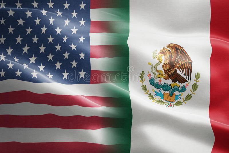 Flag of United States of America and Mexico - indicates partnership, agreement, or trade wall and conflict vector illustration