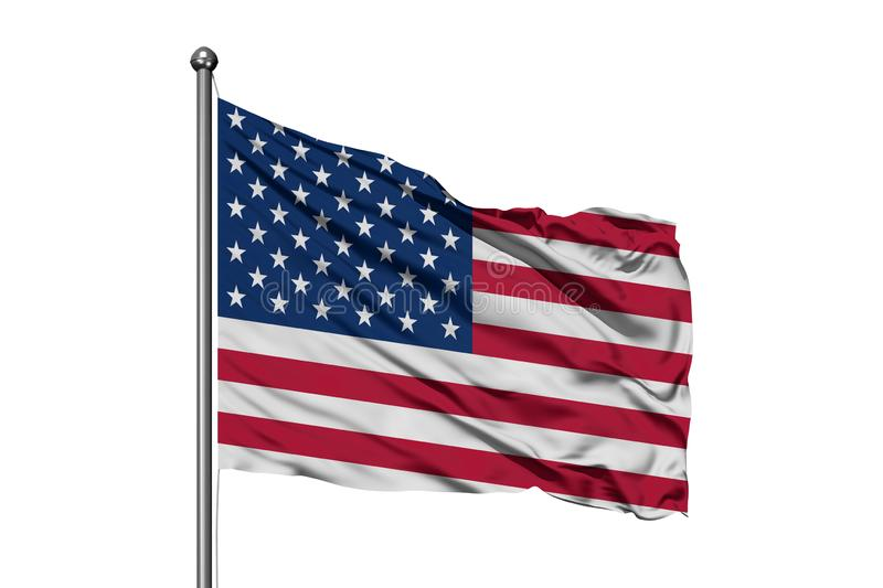 Flag of United States of America waving in the wind, isolated white background. USA flag stock image