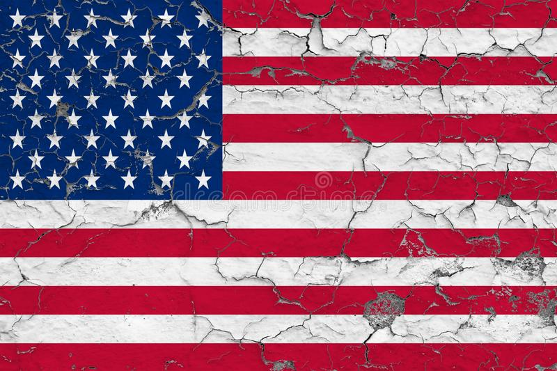 Flag of United States painted on cracked dirty wall. National pattern on vintage style surface stock illustration