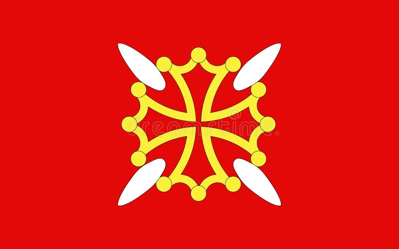 Flag of Upper Garonne, France. Flag of Upper Garonne is a department in the southwest of France named after the Garonne river. Its main city and capital is royalty free illustration