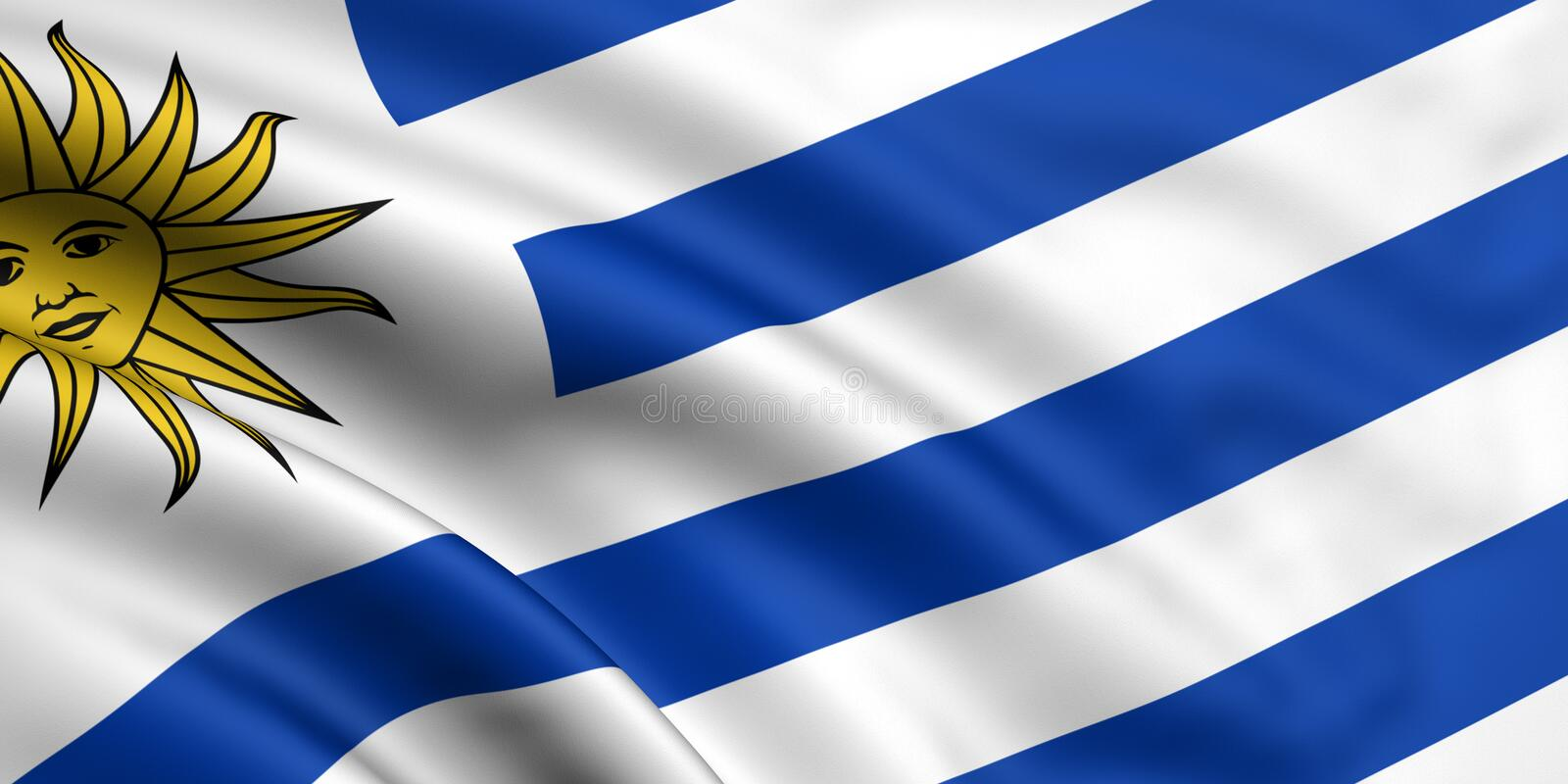 Flag Of Uruguay. 3d rendered and waving flag of uruguay