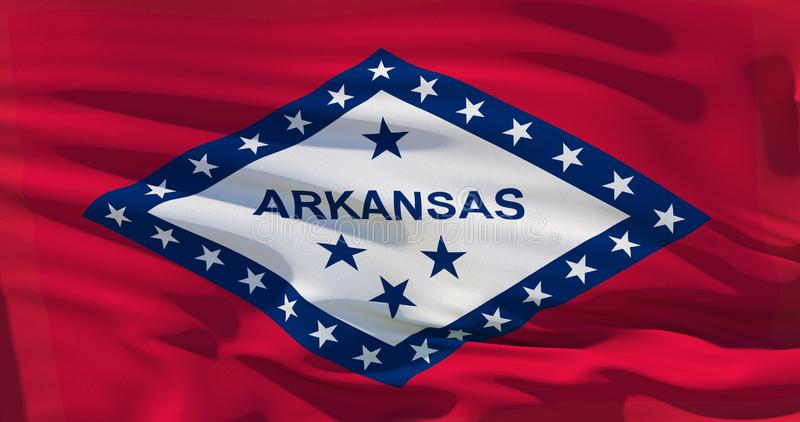Flag of US state of Arkansas covers whole frame, waved, crunched and realistic looking. 3d illustration royalty free illustration
