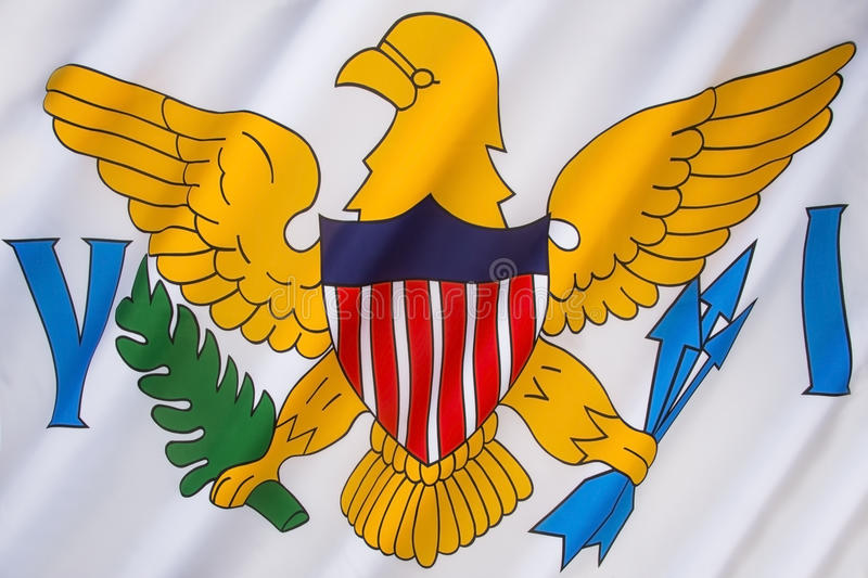 Flag of the US Virgin Islands. The flag of the United States Virgin Islands was adopted in 1921. It consists of a simplified version of the coat of arms of the royalty free stock image