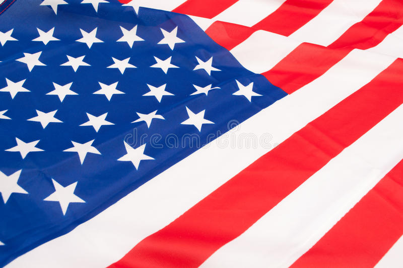 Flag of USA. Detail of Silky National Flag of United States of America - USA Flag Drapery royalty free stock image