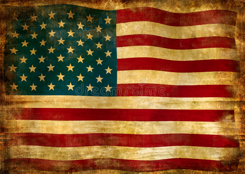 Flag of USA. Picture in retro grunge style