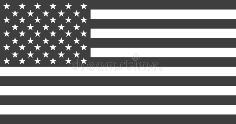 Flag USA or american. Flag american black and white colored isolated. Vector royalty free illustration