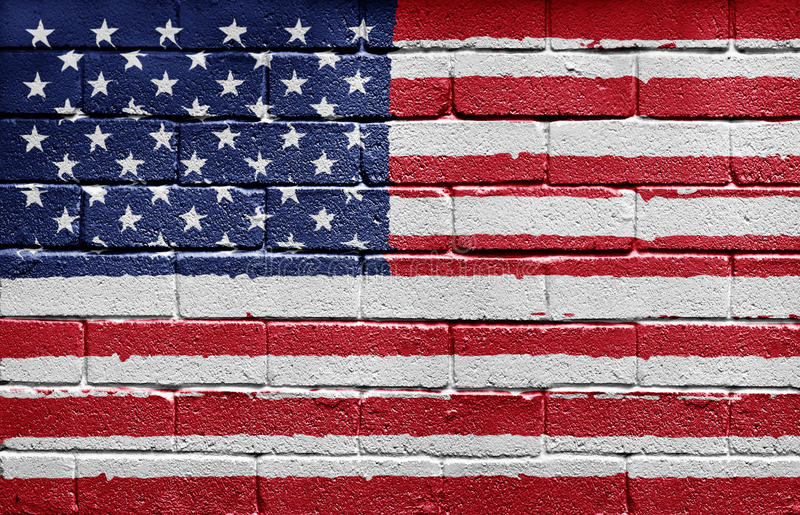 Download Flag Of The USA On Brick Wall Royalty Free Stock Photography - Image: 9724937