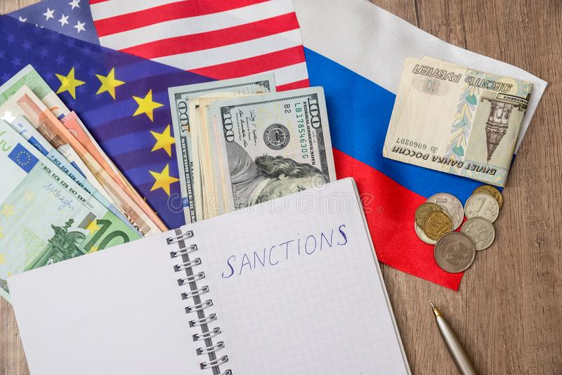 Flag of usa and europe russia and money royalty free stock photos