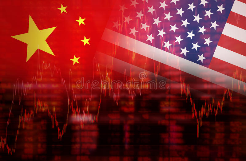 Flag of USA with flag of China downtrend stock market vector illustration