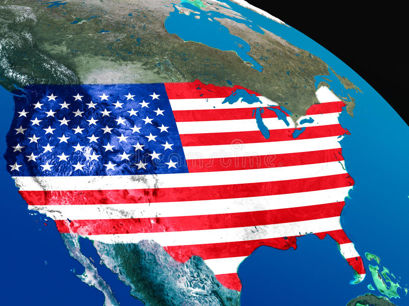 Download Flag Of USA From Space Stock Illustration - Image: 83723115